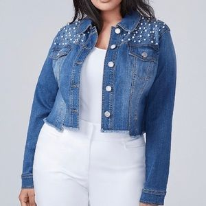 Faux Pearl Denim Jacket Lane Bryant